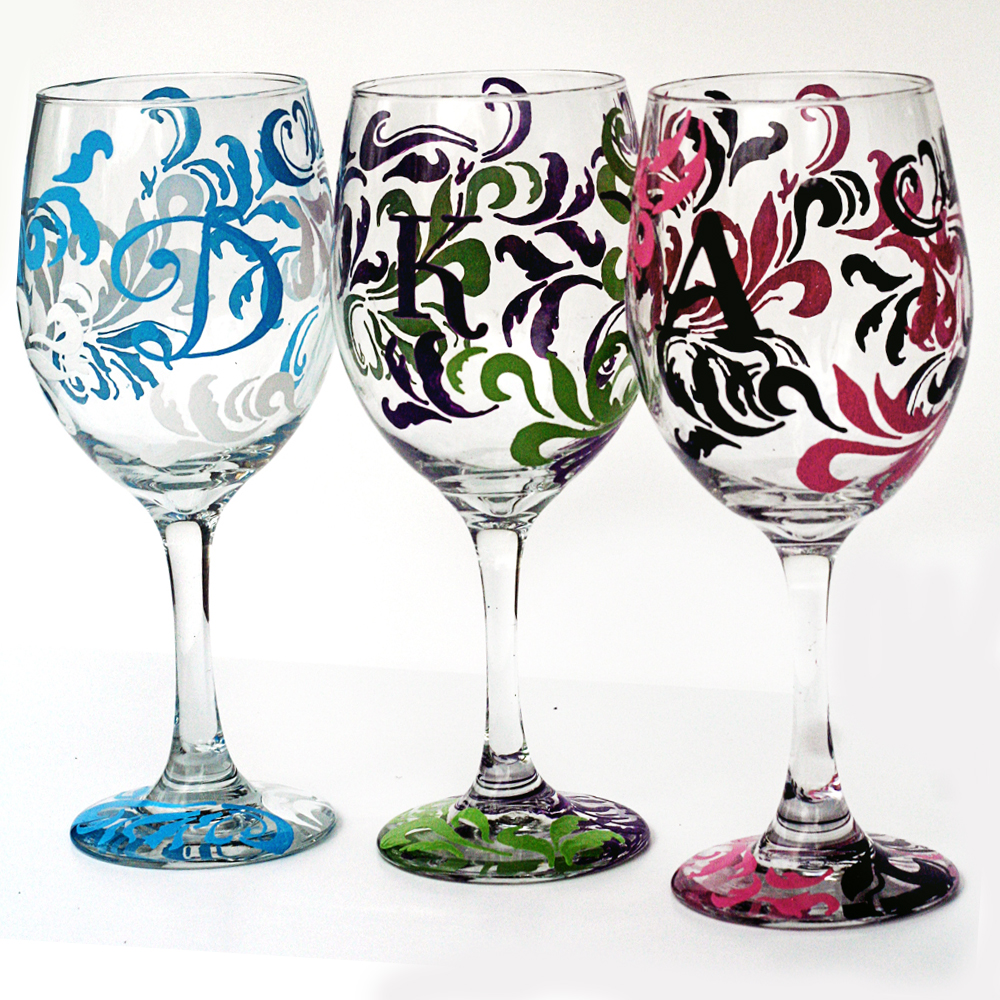 personalized wine glasses corkystorks